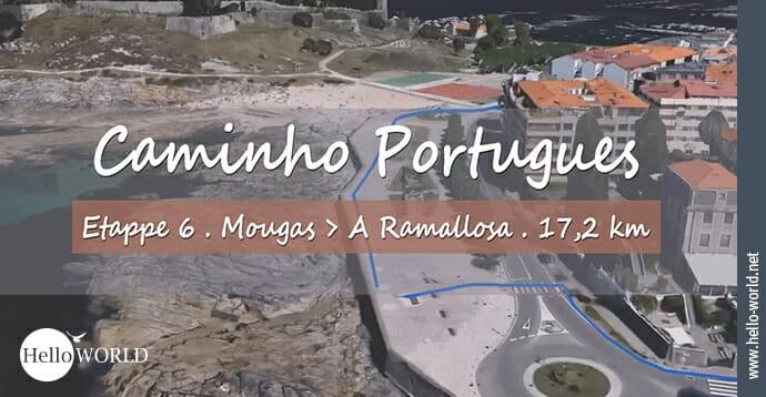 Hier sieht ein Stück des Küstenwegs aus dem sechsten Camino Portugues Video, das von Mougas nach A Ramallosa führt.