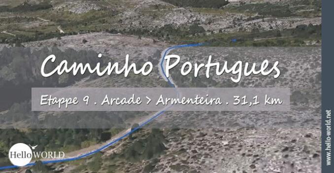 Das Bild zeigt einen Weg über Land, den man im neunten Camino Portugues Video von Arcade nach Armenteira zurücklegt.
