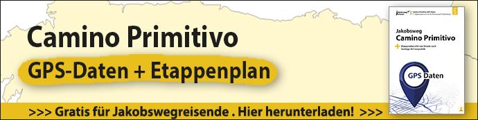 Das Bild zeigt den Werbebanner für kostenlosen GPS-Daten des Camino Primitivo.