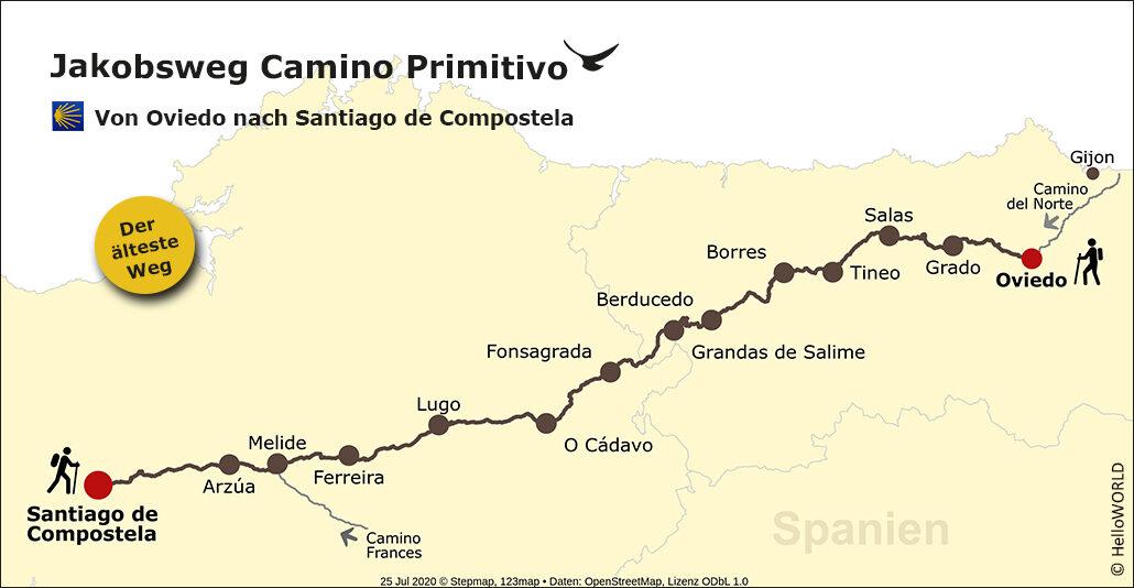 Hier sind man eine Landkarte, auf der der Camino Primitivo eingezeichnet ist.