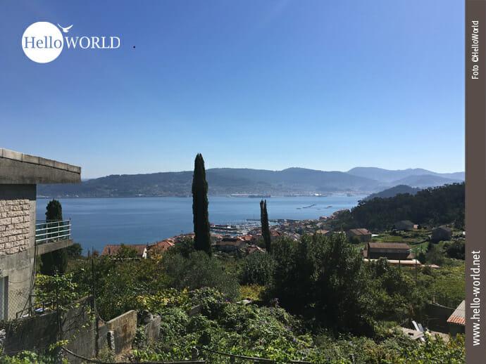 Ein wunderbarer Blick zurück auf Pontevedra Bay