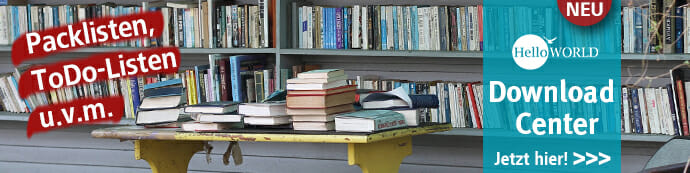 Dieses Bild zeigt eine Werbung für das neue HelloWorld Download Center mit Packlisten, Büchern u.v.m.