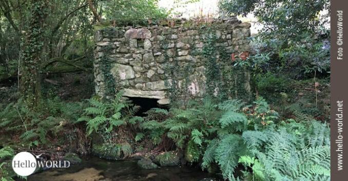 Auf dem Camino Portugues, entlang der Ruta de la Piedra y del Agua, steht diese Ruine einer alten Steinmühle am Fluß.
