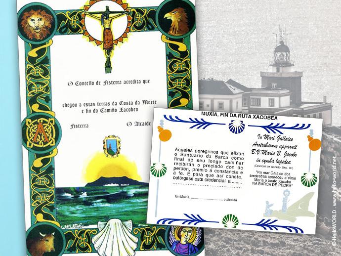 Die Abbildung zeigt die beiden Urkunden Fisterrana und Muxiana, die man auf dem Camino Finisterre erhalten kann.