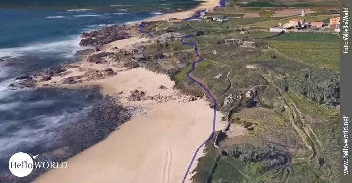 Der Caminho Portugues zeigt sich hier auf dem Google Earth-Video aus der Vogelperspektive.