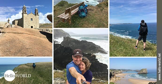 Die Collage zeigt Bilder von der spanischen Nordküste wie zum Beispiel die Kirche in Muxia oder Steilküsten.