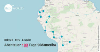 Das Bild zeigt eine Übersichtskarte von Südamerika mit der Tour des Abenteuer 100 Tage Südamerika.