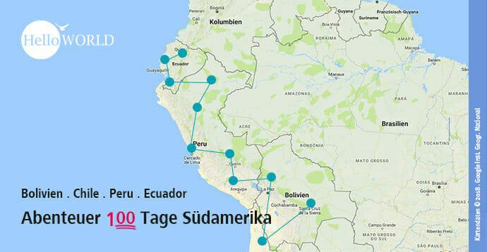 Das Bild zeigt eine Übersichtskarte über den Reiseverlauf des Abenteuer 100 Tage Südamerika.
