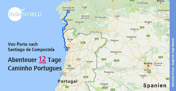Landkarte der Strecke zwischen Porto in Portugal und Santiago de Campostela in Spanien