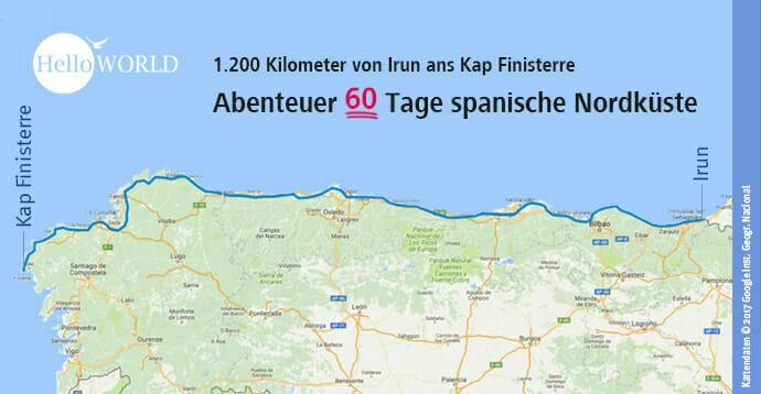 Die Karte zeigt den Weg über den Camino del Norte und die Costa da Morte an das Kap Finisterre.
