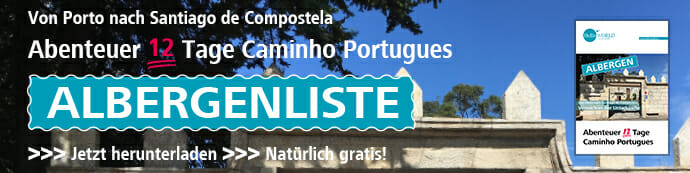 Der Jakobsweg Caminho Portugues Albergenverzeichnis-Download-Banner steht auf der HelloWorld-Webseite.
