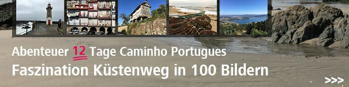 Dieses Bild zeigt einen Werbebanner der auf die Bildergalerie zum Camino Portugues führt