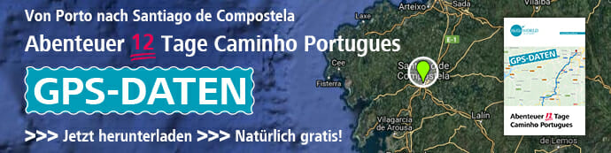 Dieses Bild zeigt einen Werbebanner der die Camino Portugues GPS Daten im Download Center bewirbt