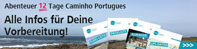 Hier sieht man den Banner, der zur Planung- und Vorbereitungsseite des Camino Portugues führt