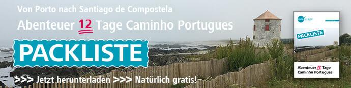 Das Bild zeigt den Banner der Packliste Abenteuer 12 Tage Jakobsweg Caminho Portugues.