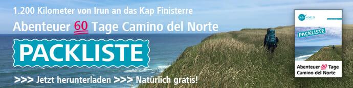 Hier sieht man den Download-Banner für die Packliste für die Vorbereitung des Camino del Norte.