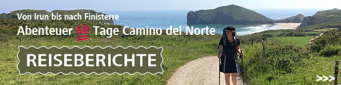 Hier sieht man ein Motiv vom Camino del Norte am Meer mit dem Schriftzug Reiseberichte.