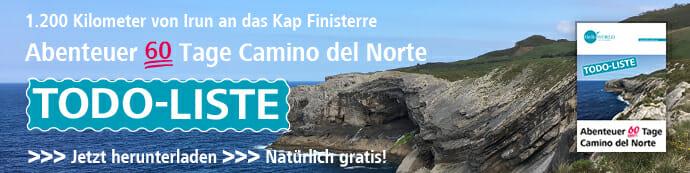 Hier sieht man den Download-Banner für die Todo-Liste für die Reise auf dem Camino del Norte.