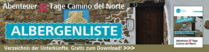 Hier sieht man den Banner für den Download der Unterkünfte am Camino del Norte.