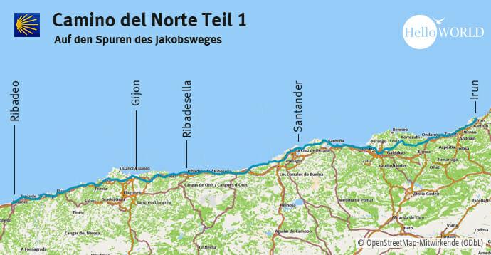 Hier sieht man den ersten Streckenanschnitt vom Camino del Norte von Irun bis Ribadeo entlang des Jakobsweges.