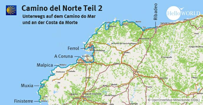Hier sieht man den zweiten Streckenabschnitt des Camino del Norte von Ribadeo über die Costa da Morte bis Finisterre.