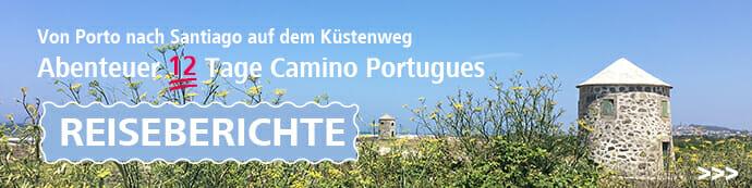 Hier sieht man ein Motiv des Camino Portugues mit dem Schriftzug Reiseberichte.
