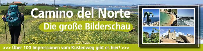 Auf diesem Camino del Norte-Banner wird die Bilderschau mit über 100 Impressionen beworben.