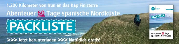 Das Bild zeigt den Banner der Packliste Abenteuer 60 Tage spanische Nordküste.