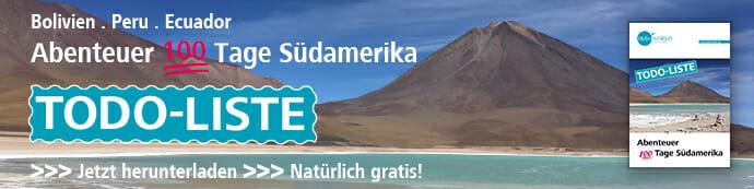 """Das Bild zeigt einen Werbebanner, der auf die Todo-Liste zum """"Abenteuer 100 Tage Südamerika"""" und die Möglichkeit des kostenlosen Downloads hinweist."""