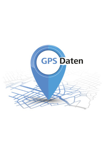 Hier sieht man den blauen Pin für die GPS-Daten des Camino Portugues Central