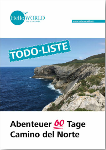 Hier sieht man den Titel für die Todo-Liste für die Reise auf dem Camino del Norte.