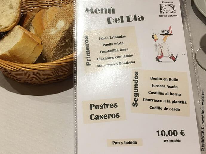 Das Bild zeigt eine Speisekarte mit Preisangabe eines Restaurants in Asturien.