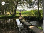 Große Trittsteine bilden eine Brücke über den Rego da Armenteira