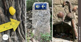 Hier sieht am drei Bilder vom Camino Portugues Rundwanderweg, auf denen Jakobswegzeichen zu sehen sind.