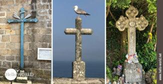 Hier sieht am drei Bilder vom Camino Portugues Rundwanderweg, auf denen unterschiedliche Kreuze zu sehen sind.