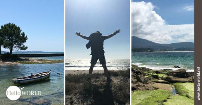 Hier sieht am drei Bilder vom Camino Portugues Rundwanderweg an der Küste.