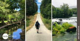 Hier sieht am drei Bilder vom Camino Portugues Rundwanderweg, die die Landschaften in den Mittelpunkt stellen.
