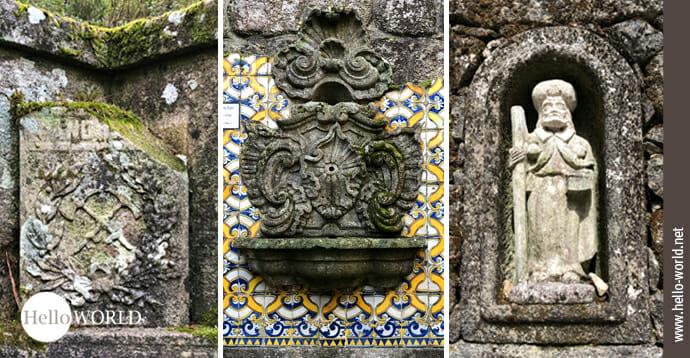Hier sieht am vom Camino Portugues Rundwanderweg drei Bilder, auf denen Mauerwerke mit unterschiedlichen Applikationen zu sehen sind.
