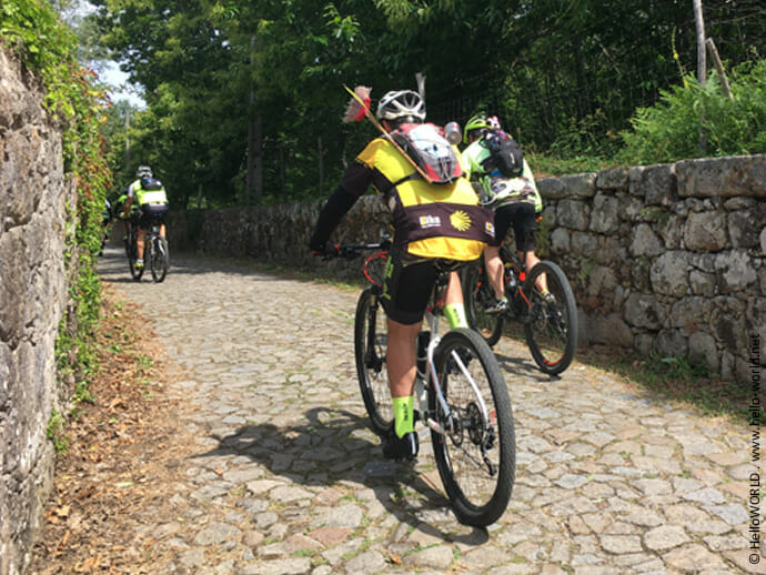 Das Bild zeigt ein paar Radpilger von hinten auf dem Camino Portugues Central