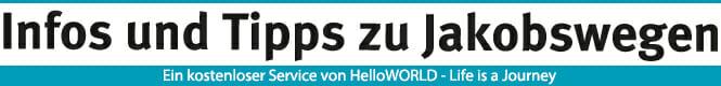 """Hier sieht man einen Banner mit der Aufschrift """"Infos und Tipps zu Jakobswegen""""."""