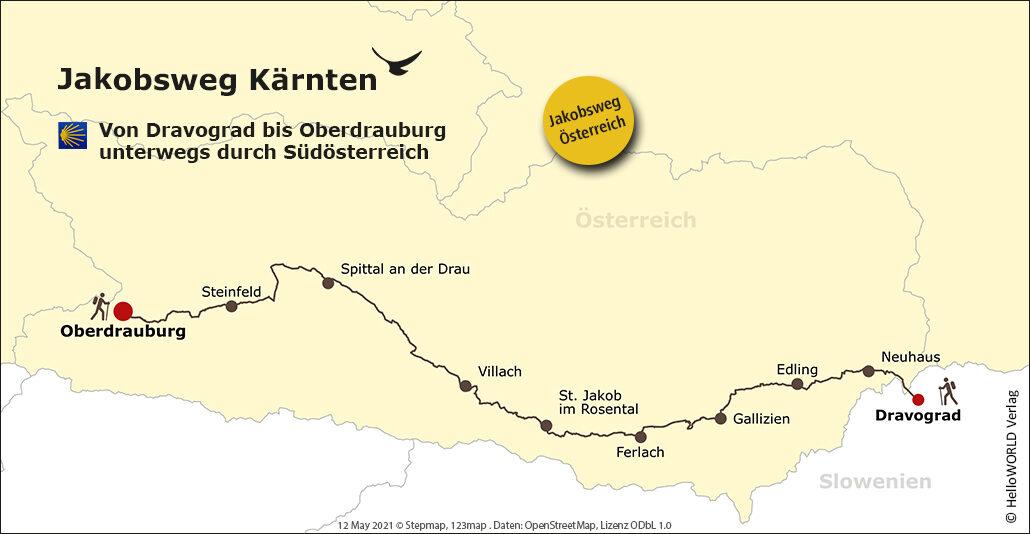 Hier sieht man die Karte des Jakobsweg Kärnten in Österreich.