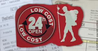 """Hier sieht man die Silhouette eines Jakobsweg-Pilgers, daneben der Schriftzug Low Cost - """"wenig Kosten""""."""