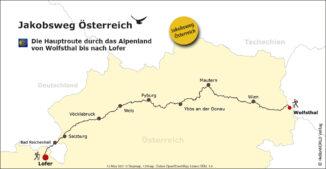 Jakobsweg Österreich von Wolfsthal bis Lofer.