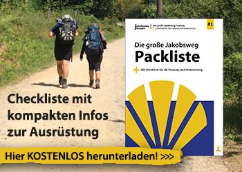 Das ist die Werbeanzeige für die große Jakobsweg-Packliste.