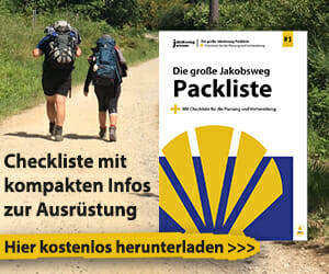 Dies ist der Infobanner für den Download der Packliste Jakobsweg.
