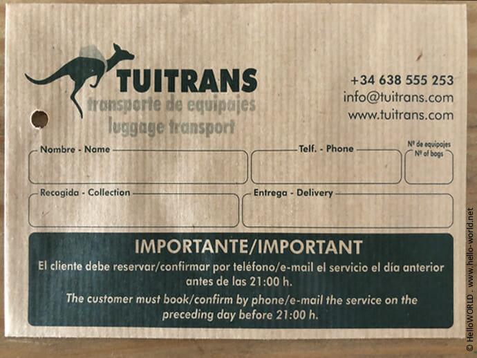 Im Bild sieht man ein Auftragsformular für den Rucksacktransport mit der Firma Tuitrans in Spanien.