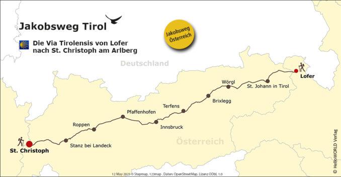 Kartenansicht des Jakobsweg Tirol, ein Pilgerweg in Österreich.