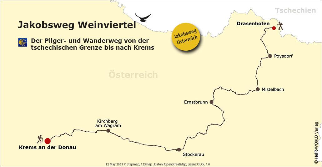 Hier sieht man eine Karte des Jakobsweg Weinviertels mit der Route.