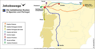 Die Karte zeigt die Jakobswege in Spanien und Portugal.