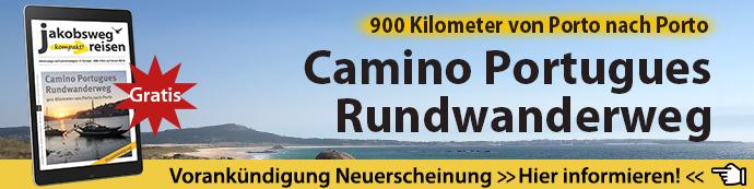 Hier sieht man den Banner für das JakobswegReisen eMagazin mit Schwerpunkt Camino Portugues Rundwanderweg.